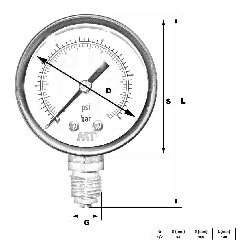 Rohrfedermanometer100 mm mit Glyzerinfüllung unten 6-16-40-100 bar 6