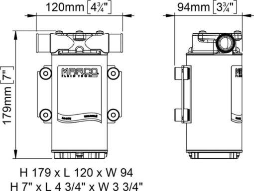 Marco UP1-B Pumpe für Ballast Tank mit Nitrilgummizahnrad 45 l/min (12 Volt) 4