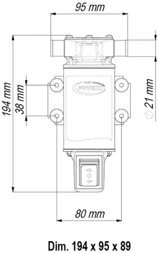 Marco UP1-JR Impellerpumpe 28 l/min mit integriertem on/off Schalter reversibel (12 Volt) 6