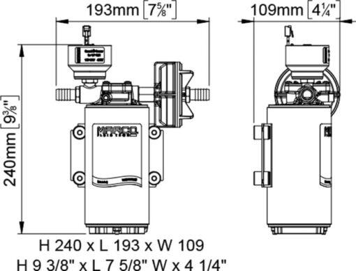 Marco UP10/E-BR 12/24V Elektronische Pumpe mit Bronzezahnräder 18 l/min 7
