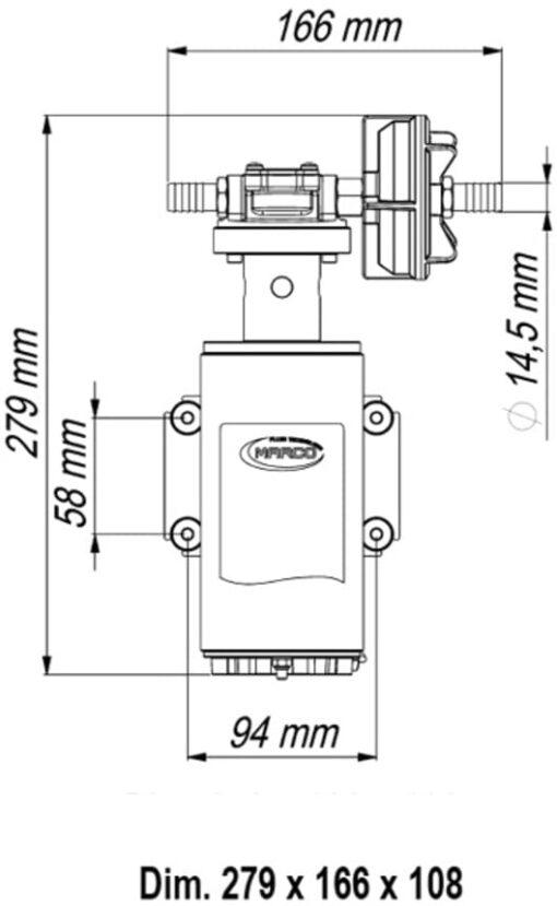 Marco UP10-HD Pumpe für Dauerbelastung mit Flansch, 7 bar, 18 l/min (24 Volt) 4