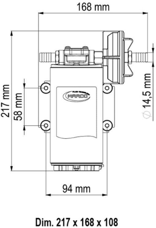Marco UP10-P Pumpe für Dauerbelastung 18 l/min - PTFE Zahnräder (12 Volt) 4