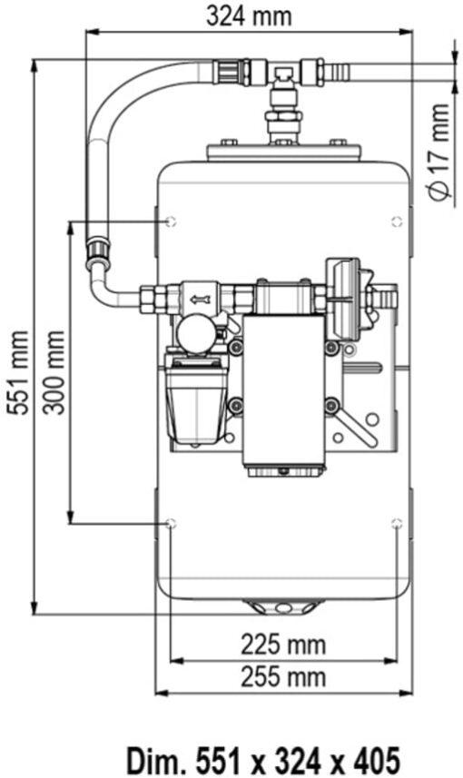 Marco UP12/A-V20 Automatische Druckwasserpumpe 36 l/min + Ausdehnungsgefäss 20 l (24 Volt) 4