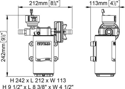Marco UP12/E-BR 12/24V Elektronische Pumpe mit Bronzezahnräder 36 l/min 8