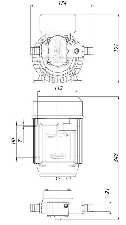 Marco UP14/AC 220 V 50 Hz Pumpe mit PTFE Zahnrädern 44 l/min 6