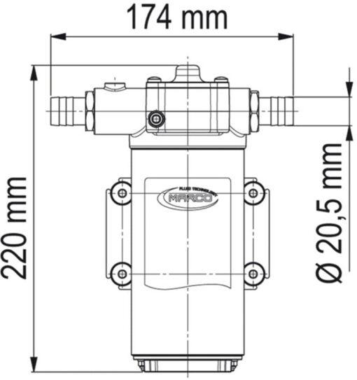 Marco UP14-PV Pumpe mit PTFE Zahnrädern und Rückschlagventil 46 l/min (24 Volt) 6
