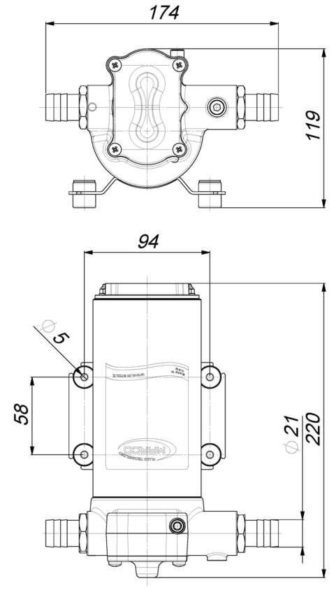 Marco UP14 Pumpe mit Bronzezahnrädern 46 l/min (24 Volt) 6