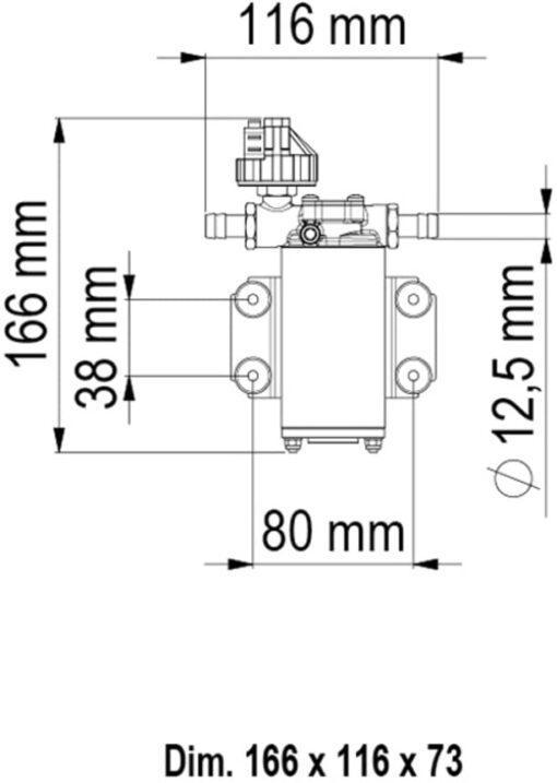 Marco UP2/A Automatische Druckwasserpumpe mit Druckwächter 10 l/min (12 Volt) 6