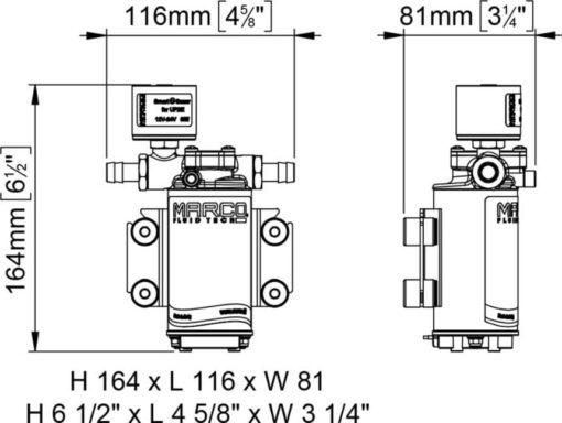 Marco UP2/E-BR 12/24V Elektronische Pumpe mit Bronzezahnräder 10 l/min 5