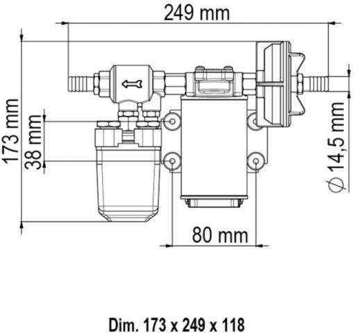 Marco UP3/A Automatische Druckwasserpumpe mit Druckwächter 15 l/min (24 Volt) 4