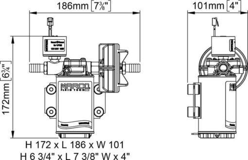 Marco UP3/E-BR 12/24V Elektronische Pumpe mit Bronzezahnräder 15 l/min 8