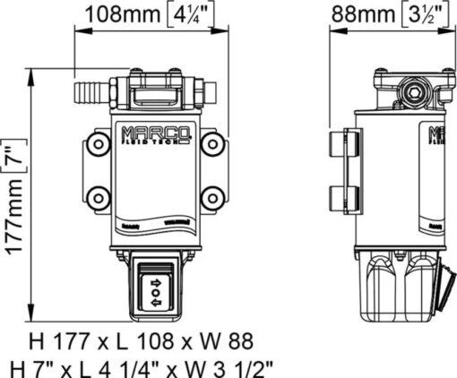 Marco UP3/OIL-R Ölpumpe mit integriertem on/off Schalter reversibel (12 Volt) 6