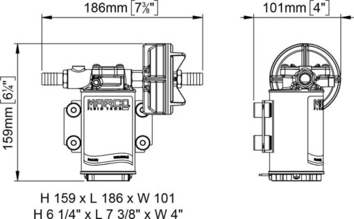 Marco UP3-PV Pumpe PTFE Zahnräder 15 l/min mit Rückschlagventil (24 Volt) 6