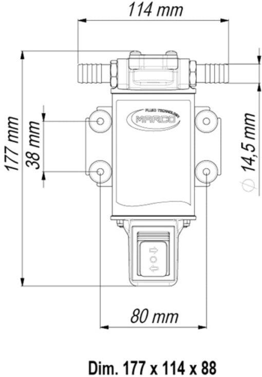 Marco UP3-R Zahnradpumpe 15 l/min mit integriertem Schalter (24 Volt) 6