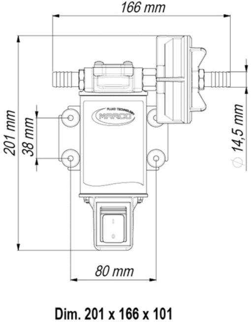 Marco UP3-S Zahnradpumpe 15 l/min mit integriertem on/off Schalter (24 Volt) 6