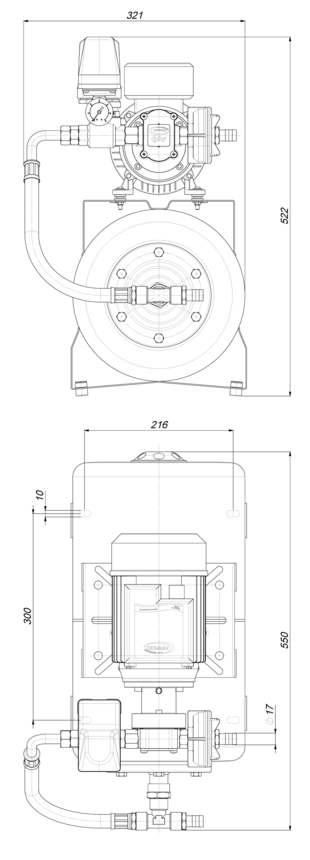 Marco UP6/A-AC 220 V 50 Hz Automatische Druckwasserpumpe mit Ausdehnungsgefäss 20 l 4