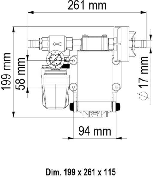 Marco UP6/A Automatische Druckwasserpumpe mit Druckwächter 26 l/min (12 Volt) 6