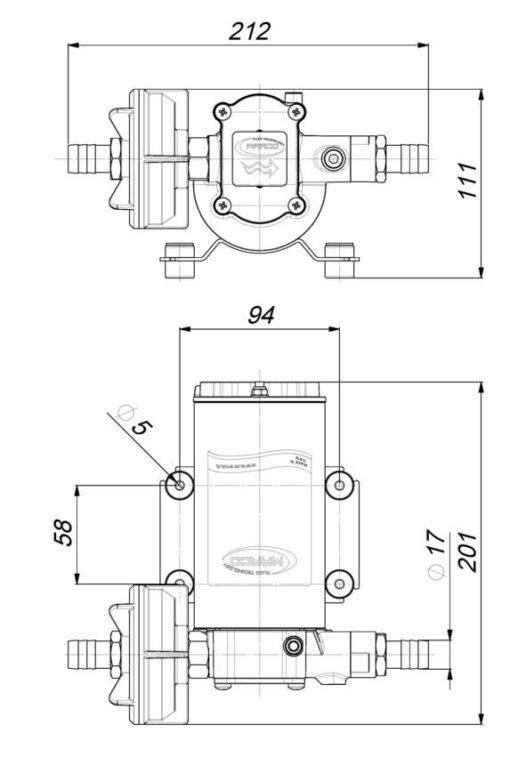 Marco UP6-PV Pumpe mit PTFE Zahnrädern und Rückschlagventil 26 l/min (24 Volt) 6