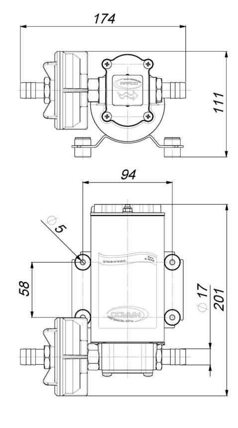 Marco UP6-P Pumpe mit PTFE Zahnrädern 26 l/min (24 Volt) 6