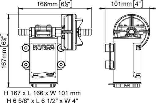 Marco UP8 Pumpe für Dauerbelastung mit Bronzezahnrädern 10 l/min (24 Volt) 6