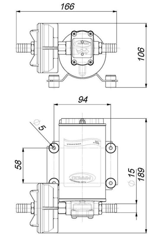 Marco UP9-P Pumpe mit PTFE Zahnrädern 12 l/min (12 Volt) 6