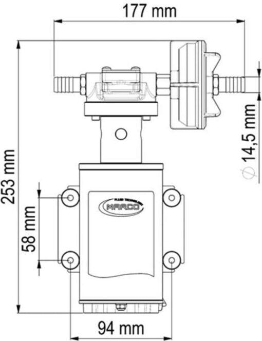 Marco UP9-XA Pumpe für Unkrautvernichtungsmittel 12 l/min - AISI 316 L - FKM (Viton) Dichtungen (24 Volt) 6