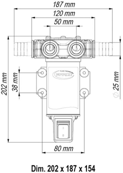 Marco VP45-S Schaufelpumpe mit integriertem on/off Schalter 45 l/min (24 Volt) 4