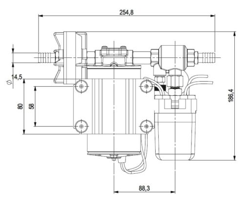 Marco DP9 Kit Deckwaschpumpe 4 bar (24 Volt) 7
