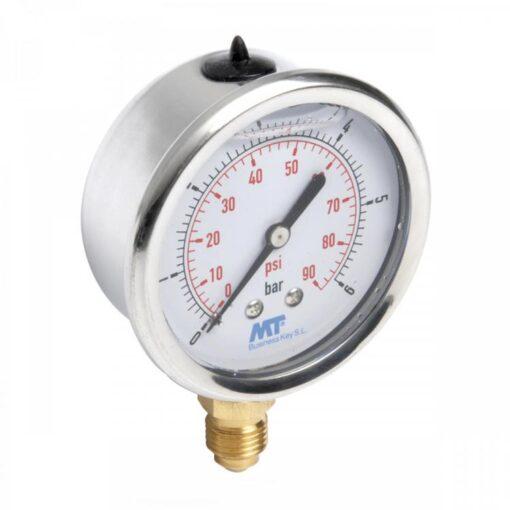 Rohrfedermanometer63mm mit Glyzerinfüllung unten 2,5-4-6-10-16-25-60-100 bar 3