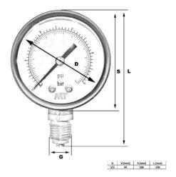 Rohrfedermanometer100 mm mit Glyzerinfüllung unten 6-16-40-100 bar 4