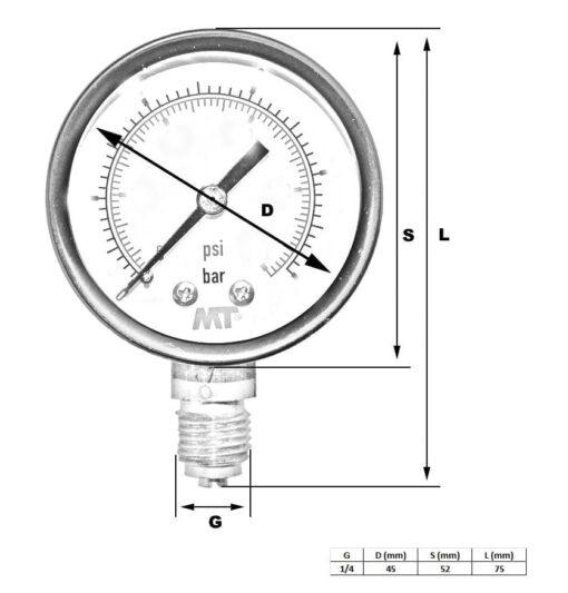 Rohrfedermanometer50 mm unten / hinten 2,5-4-6-10-16 bar 3